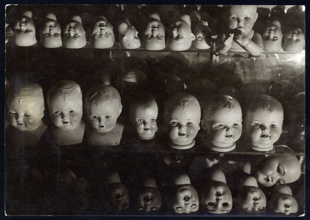 "S-0211, ""Dolls Heads in Ike Davis' doll repair shop"""