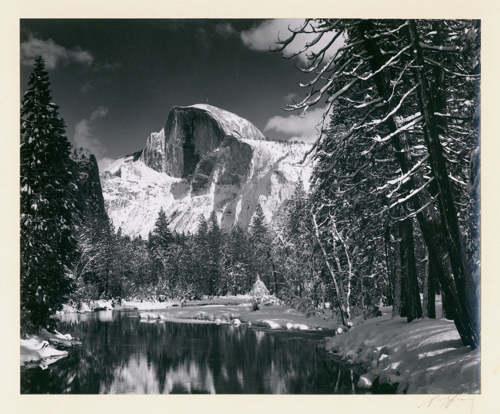 "S-0213, Ansel Adams, ""Half Dome – Merced River – Winter"", 1938"