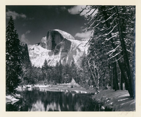 "S-0213, ""Half Dome – Merced River – Winter"""
